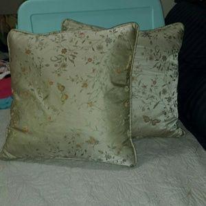 Hand embroidered silk pillows